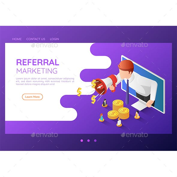 Isometric Web Banner Businessman Come Out From Monitor and Shout Through Megaphone