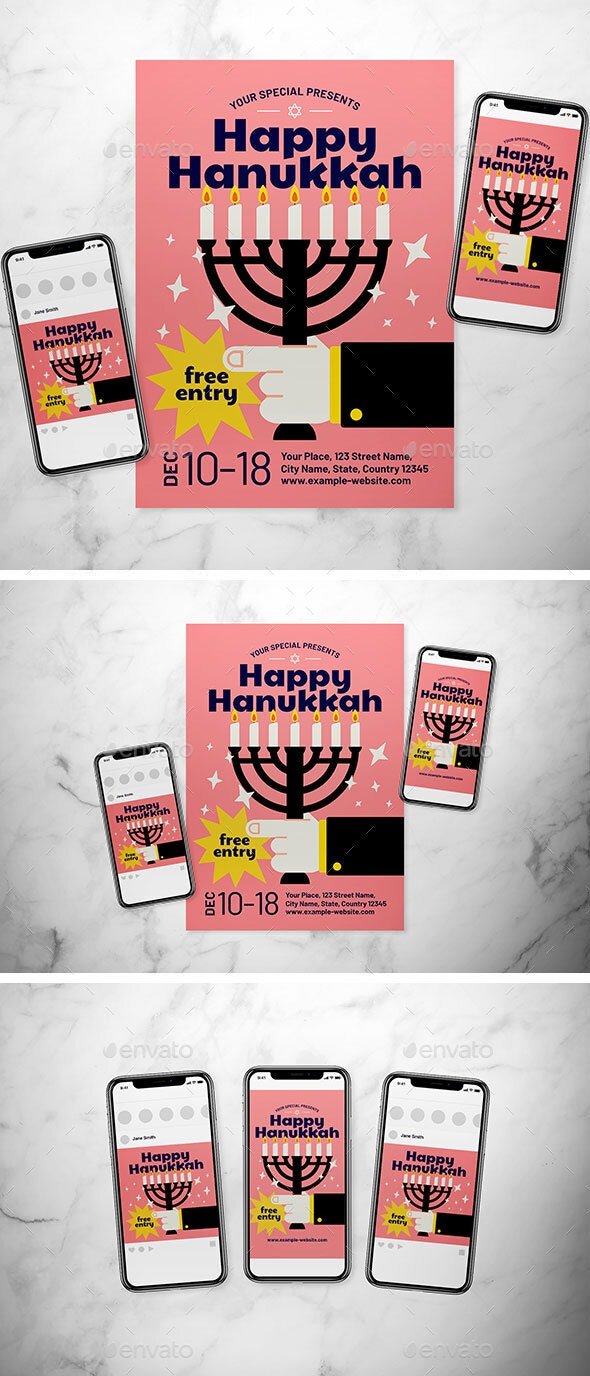 Hanukkah Flyer Set - Holidays Events