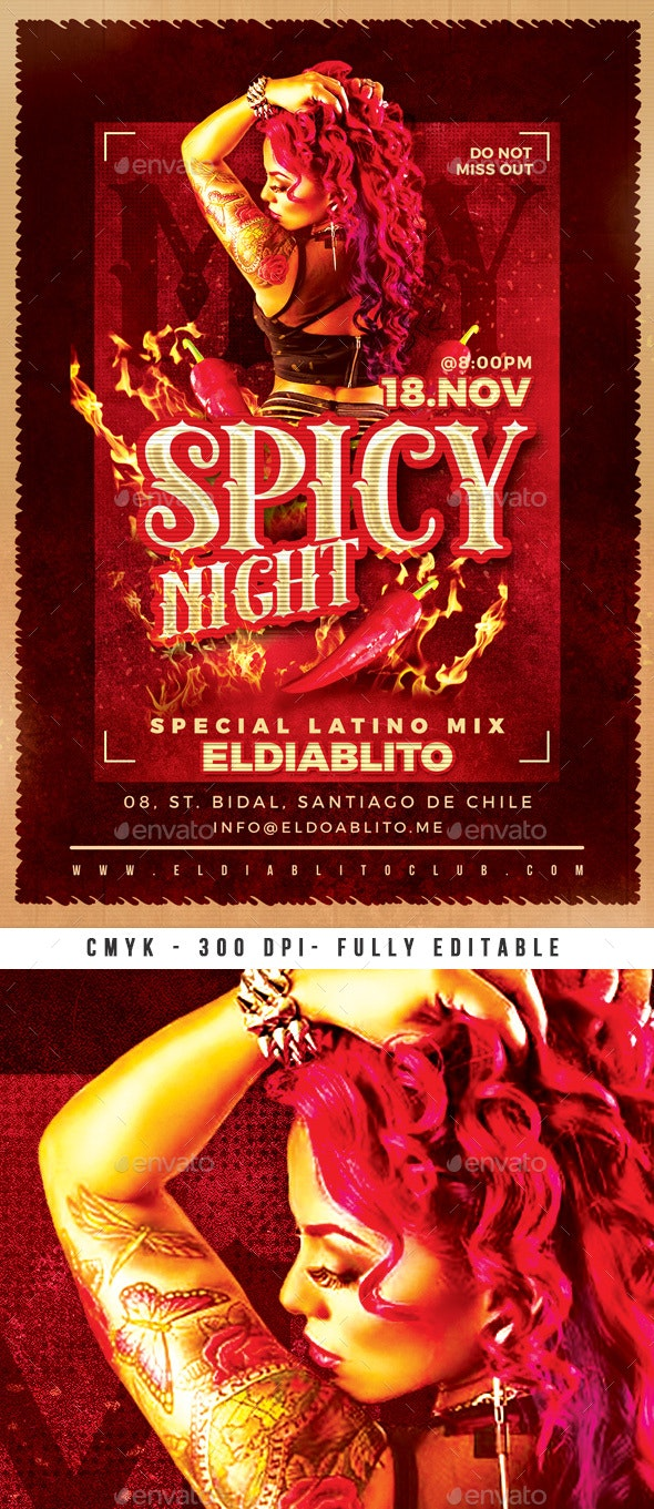 Spicy Night Club Party Flyer - Clubs & Parties Events