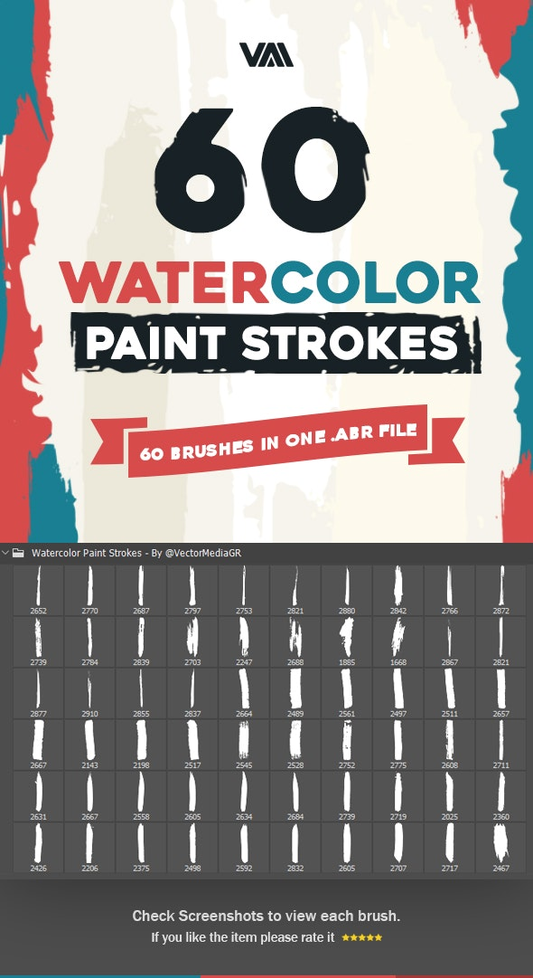 Watercolor Paint Strokes - Photoshop Brushes - Artistic Brushes
