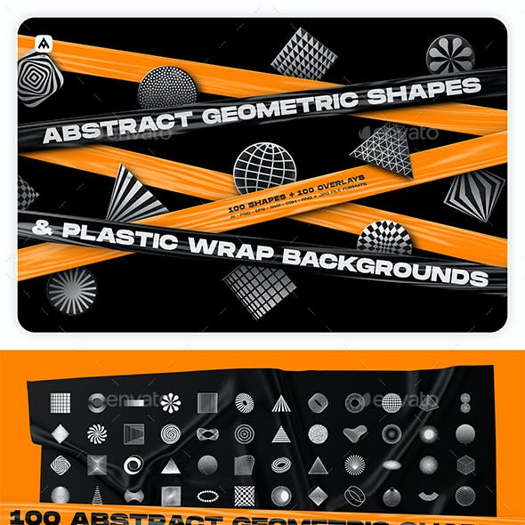 Abstract geometric shapes & Plastic wrap backgrounds collection