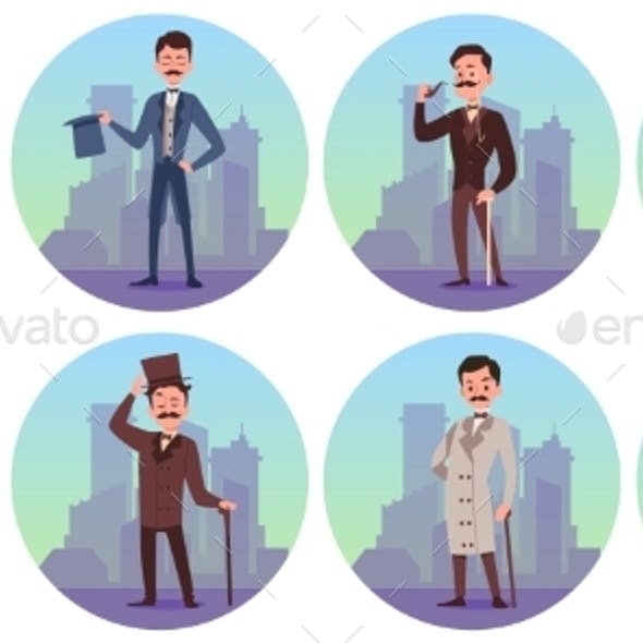 Set Characters of Victorian English Aristocrats a