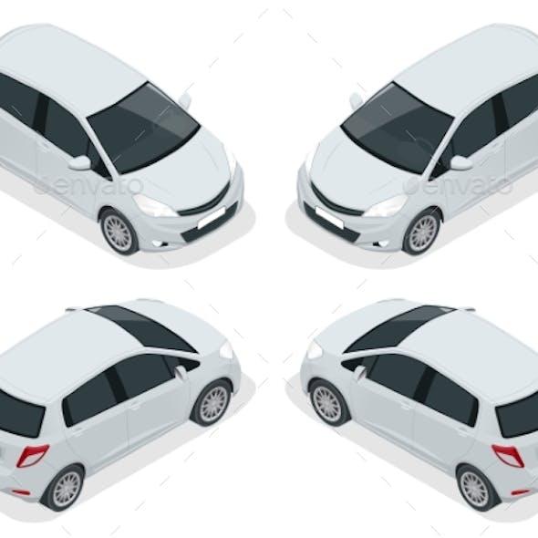 Isometric Subcompact Hatchback Car High Quality