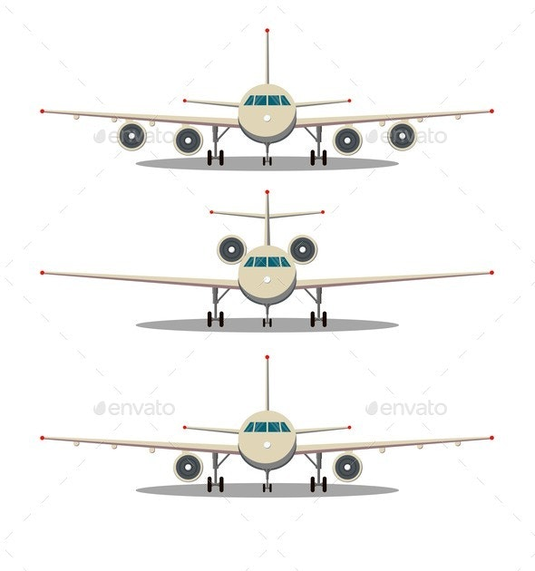 Airplane Front View - Man-made Objects Objects
