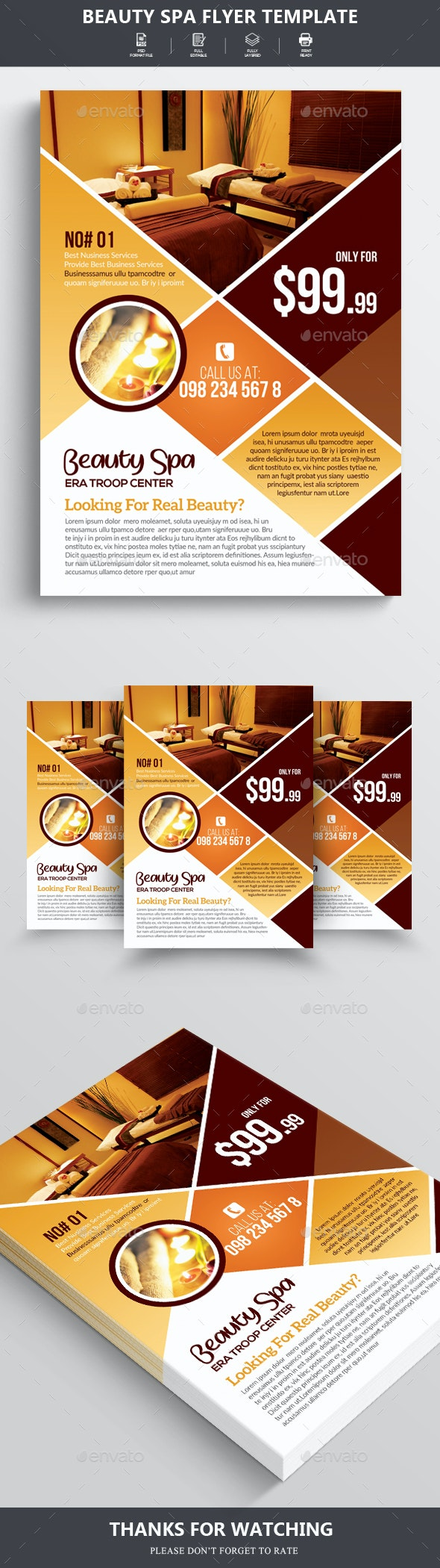 Beauty Spa & Massage Center Flyer - Flyers Print Templates