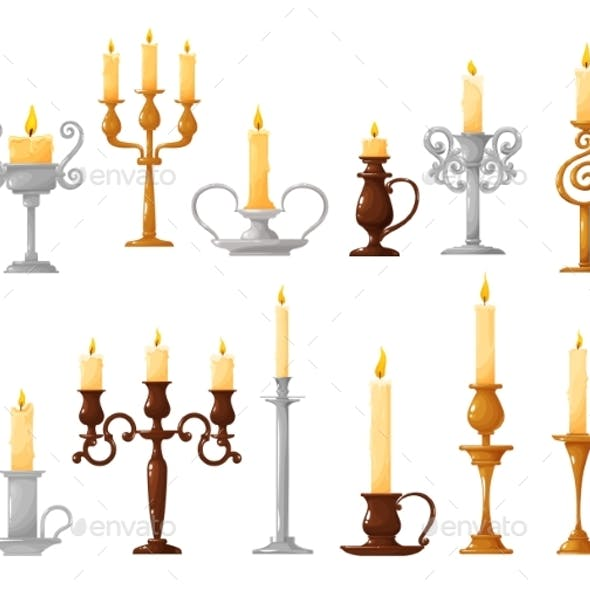 Candlestick with Burning Candle Cartoon Icons