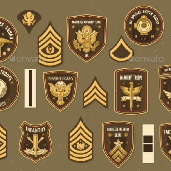 United States Army Military Vector Officer Chevron