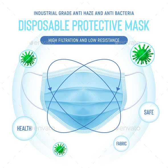 Realistic Vector Disposable Protective Mask