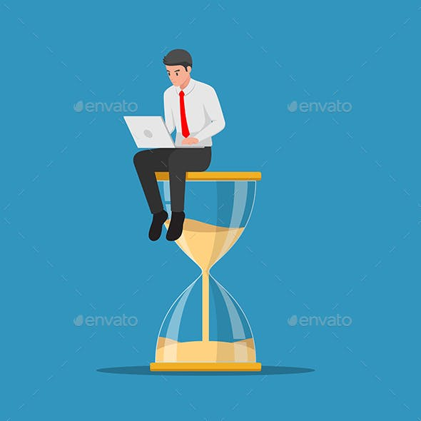 Businessman Working with Laptop Sitting on Hourglass