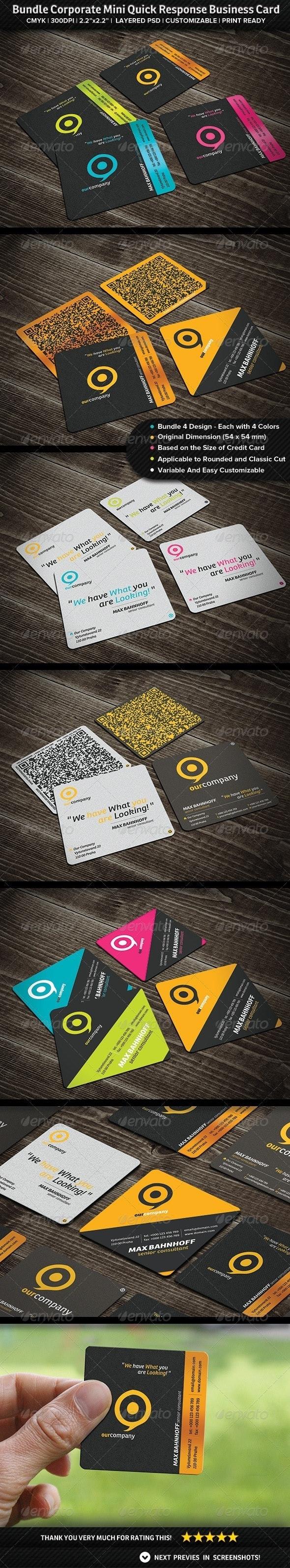 Bundle Corporate Mini Quick Response Business Card - Creative Business Cards