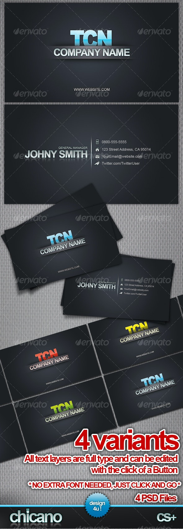 Business Card Reflection 4 variations - Corporate Business Cards