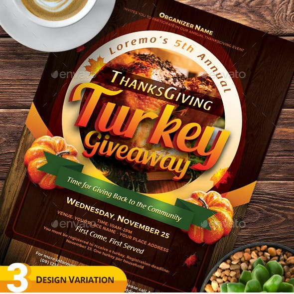 Thanksgiving Turkey Giveaway Flyer Templates