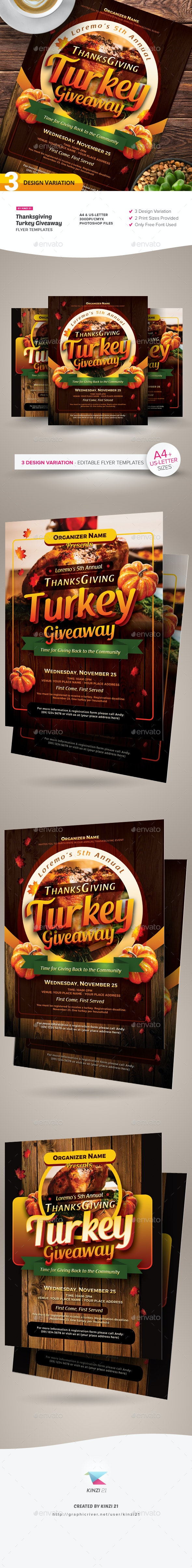 Thanksgiving Turkey Giveaway Flyer Templates - Holidays Events