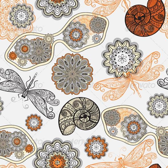 Seamless Pattern: Sunglasses, Flowers, Shells - Patterns Decorative