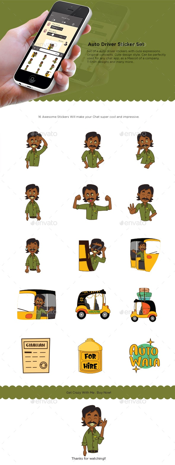 Auto Driver Stickers Set - People Characters