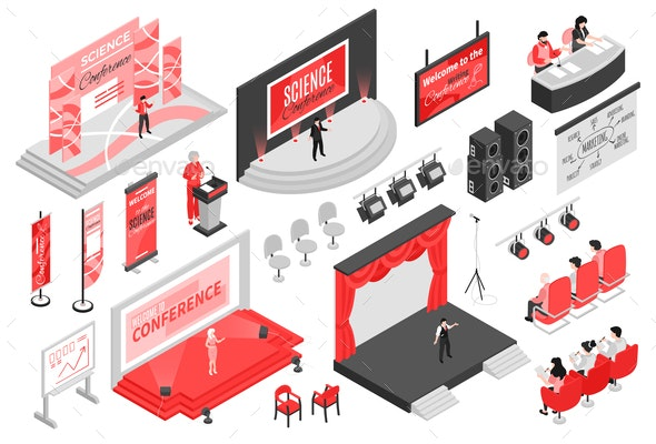 Conference Hall Isometric Set - Miscellaneous Vectors