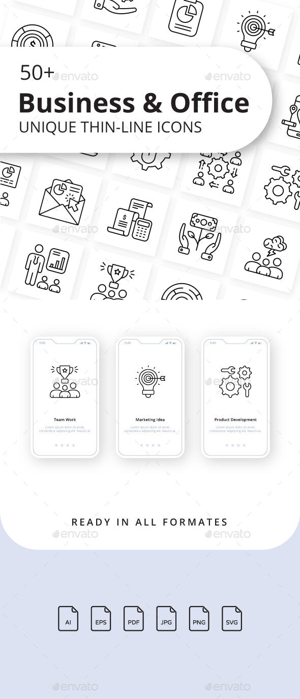 Business and Office Outline Icons - Business Icons