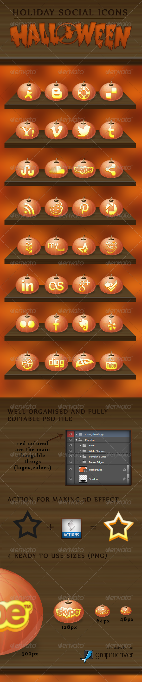 Halloween - Holiday Social Icons - Media Icons