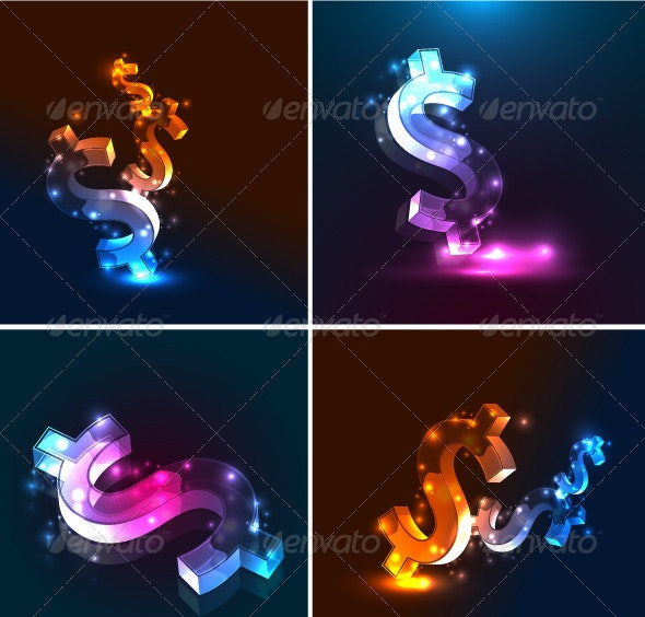 Vector Glowing Dollar Backgrounds - Concepts Business