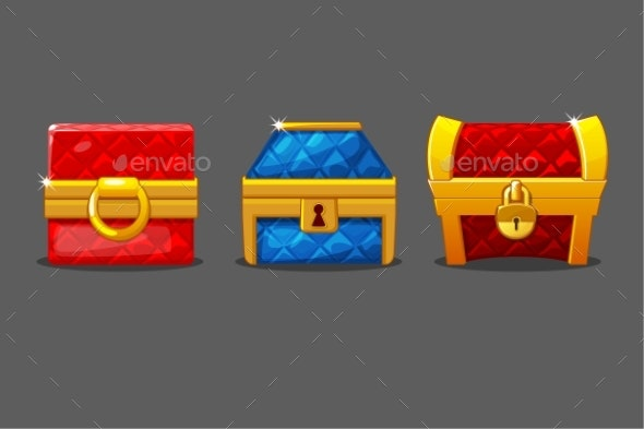 A Set of Isolated Soft Chests of Different Shapes - Man-made Objects Objects
