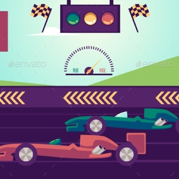 Racing Car Track with Vehicle and Signaling