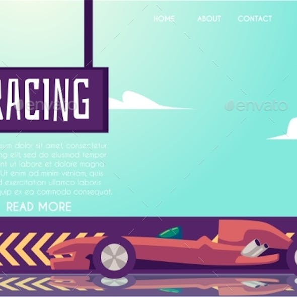 Website Page Banner Template for Car Speed Racing