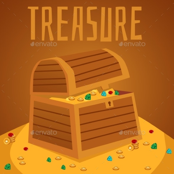 Card or Banner with Pirate Treasure Chest, Flat - Miscellaneous Vectors