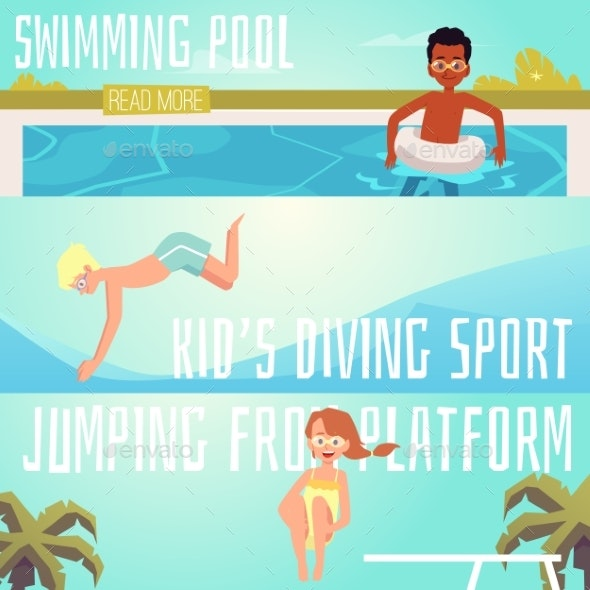 Set of Horizontal Banners for Children Pool - Sports/Activity Conceptual