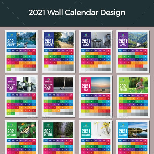 Colorful Wall Calendar 2021