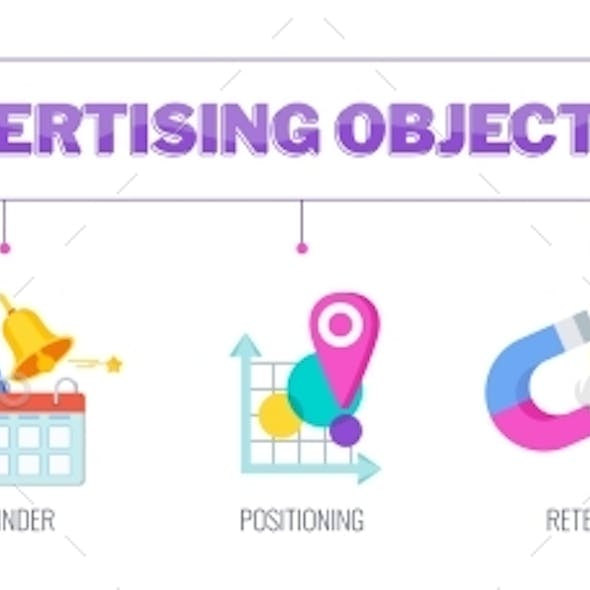 Advertising Objectives Banner with Set of Icons