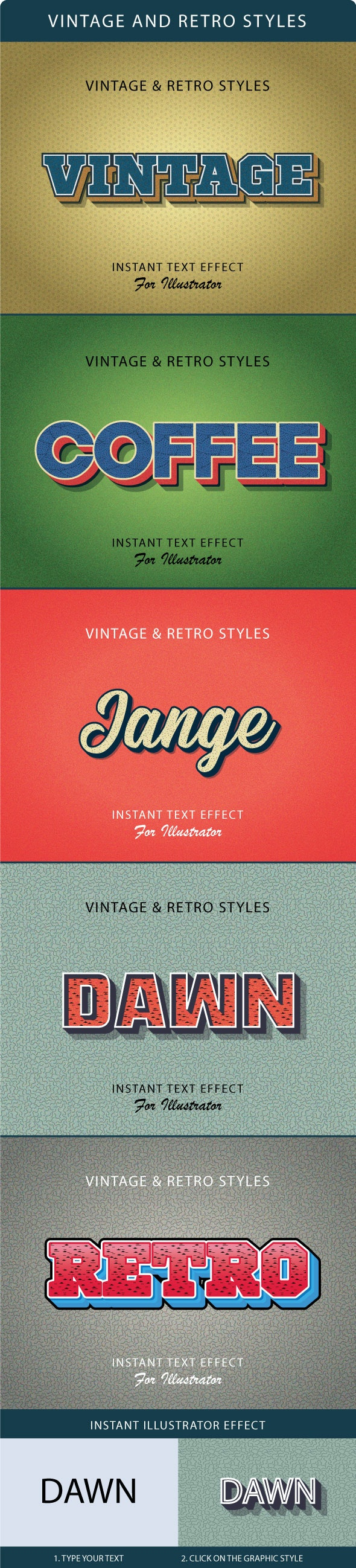 Vintage And Retro Styles - Styles Illustrator