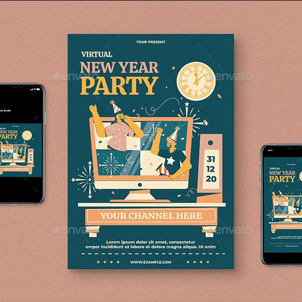 Virtual New Year Flyer Pack