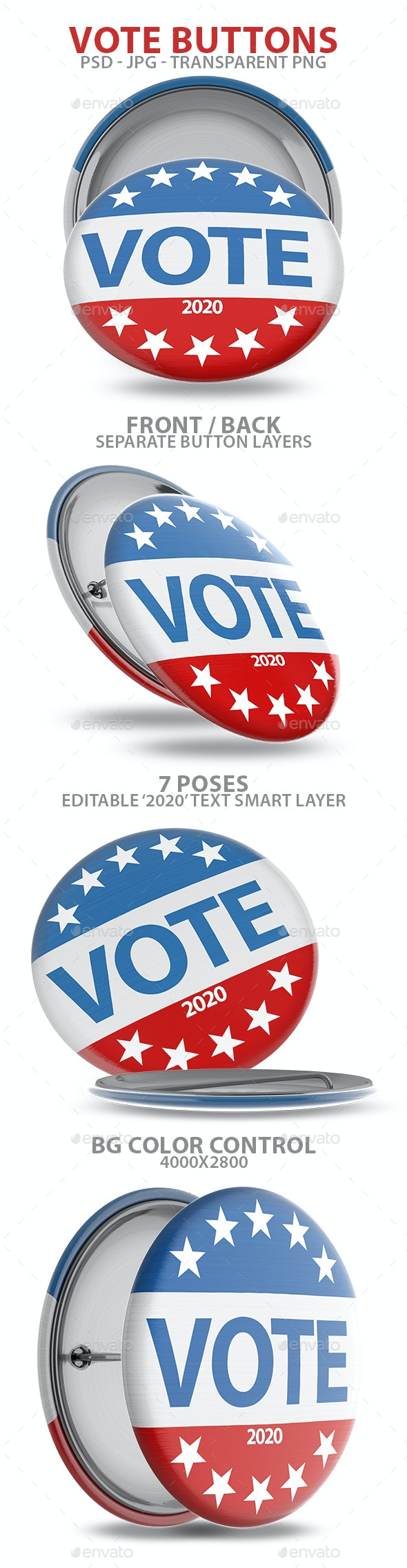 Vote Buttons 3D Renders - Objects 3D Renders
