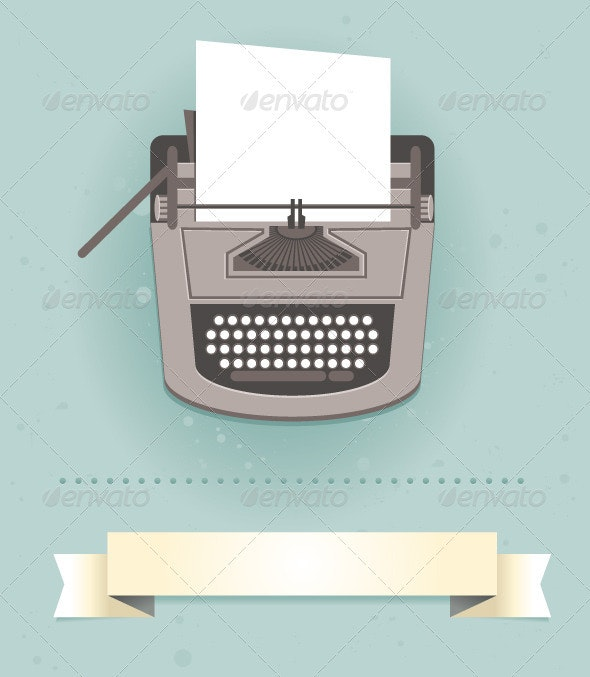 Typewriter in Retro Style - Vector Card - Objects Vectors