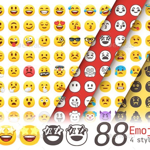 Cartoon Emoji. 88 Emoticons. Flat and Stencil.