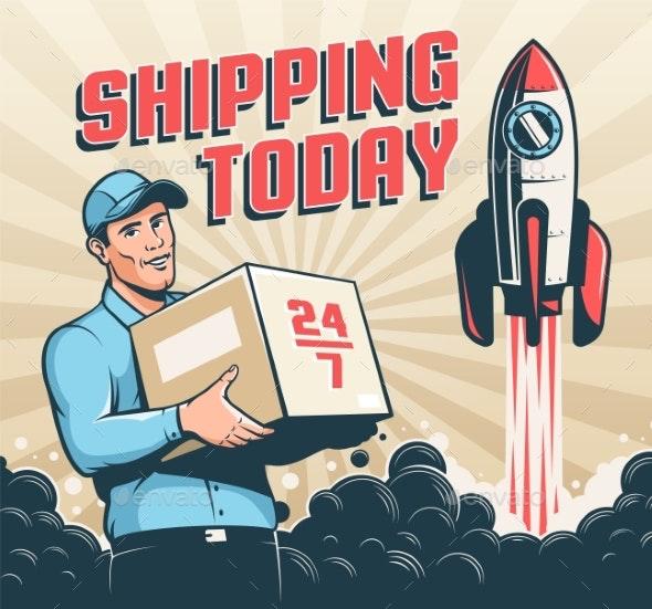 Postman Courier Man with Parcel Box - Retro - Miscellaneous Vectors