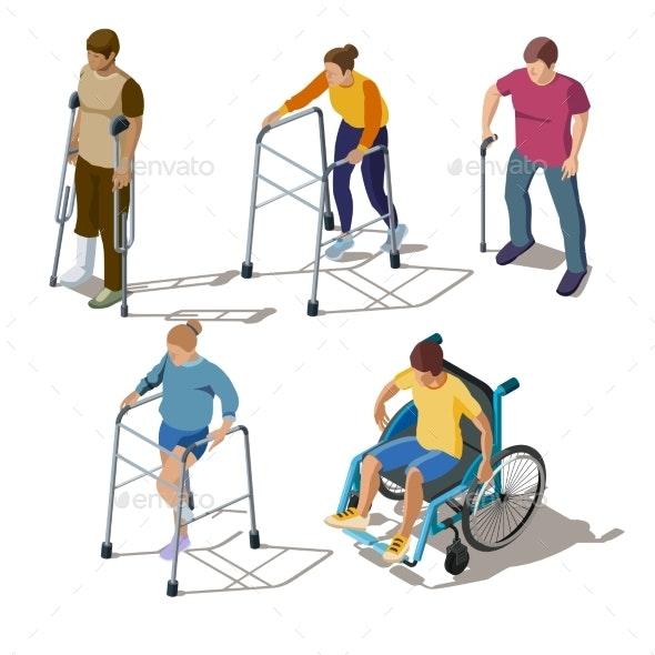 People with Leg Injuries Bone Breaks - People Characters