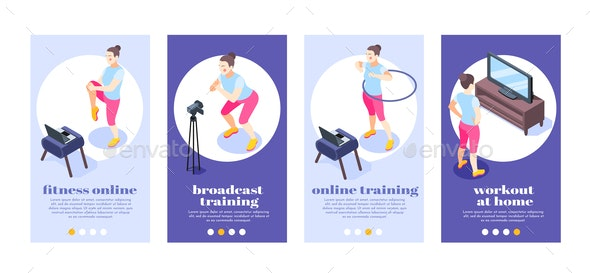 Fitness Online Isometric Posters - Miscellaneous Vectors