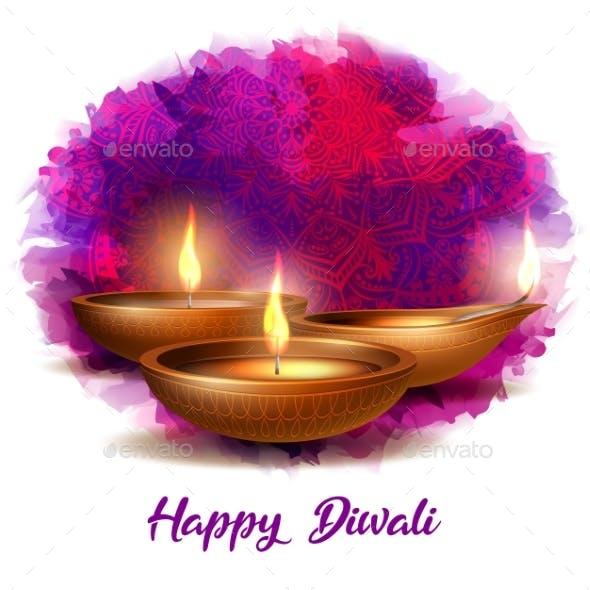 Burning Diya on Happy Diwali Holiday on Dark