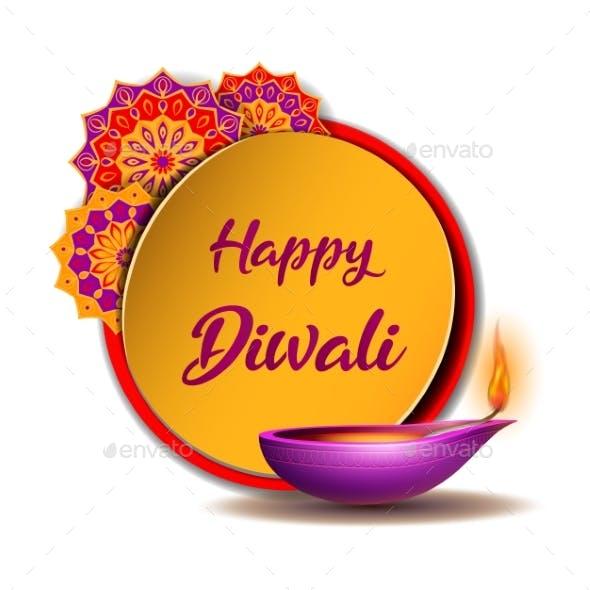 Congratulation Banner with Burning Diya and Yellow