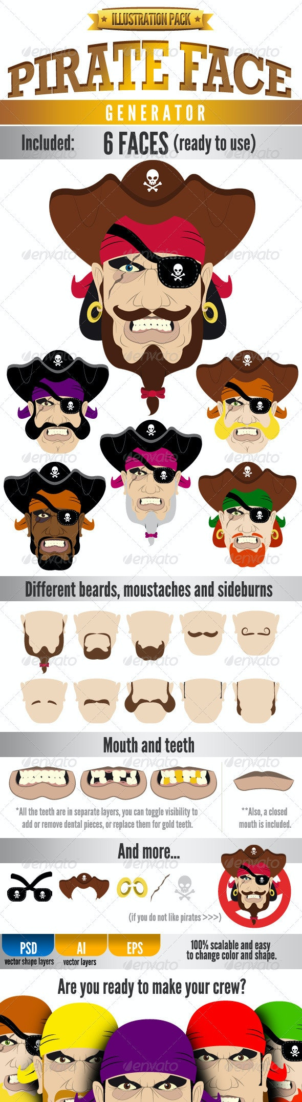Pirate Face - Illustration Kit - People Characters