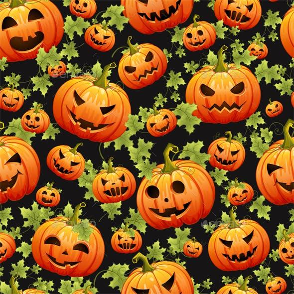 Seamless Halloween Pattern with Pumpkins