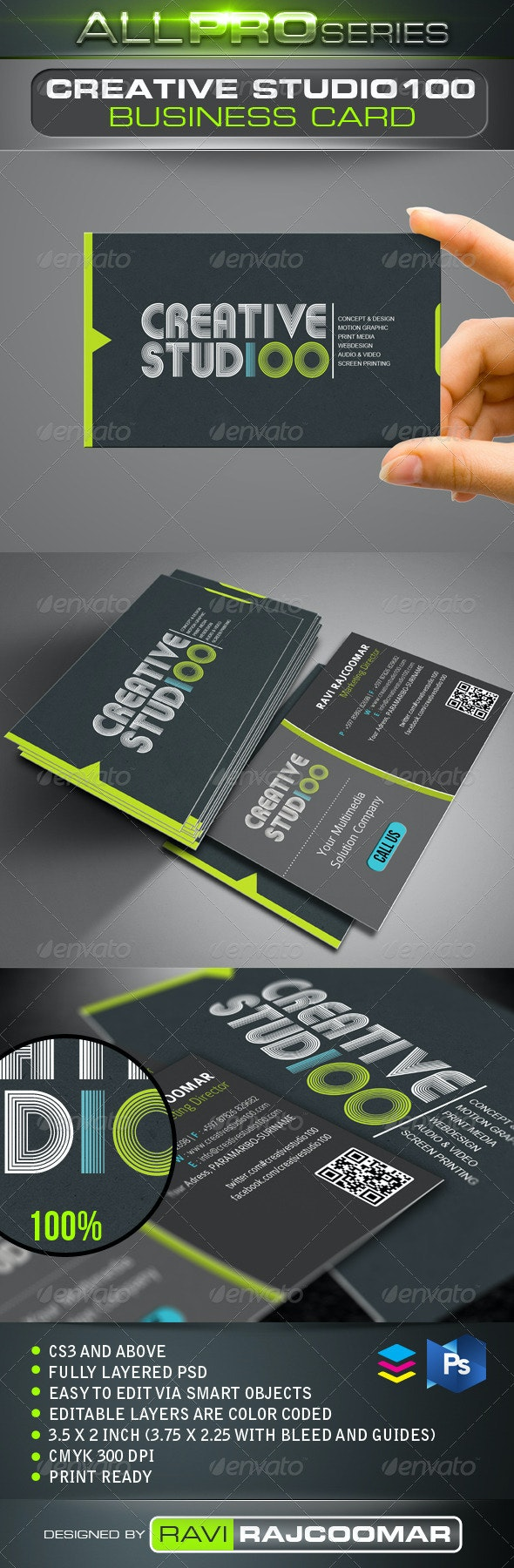 Creative Studio100 Business Card - Creative Business Cards