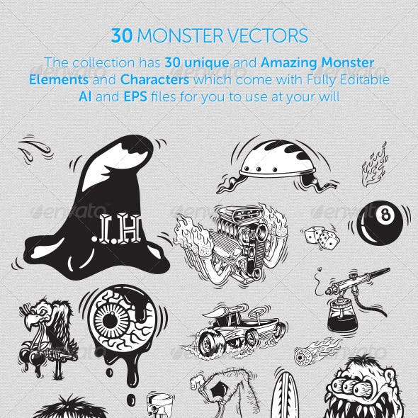 30 Monster Vectors