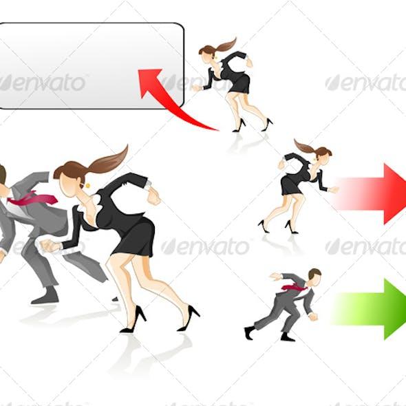 man and woman rushing