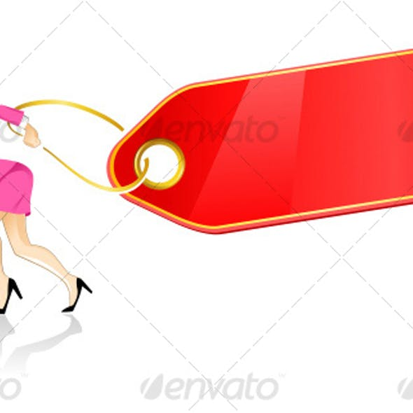 woman running with bag and red tag
