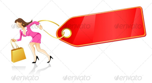 woman running with bag and red tag - People Characters