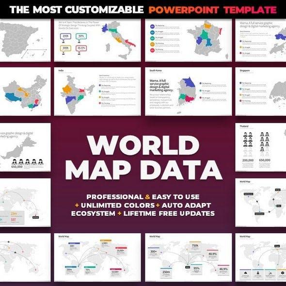 World Map Data PowerPoint Template