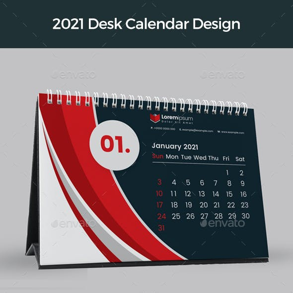 Red Desk Calendar 2021