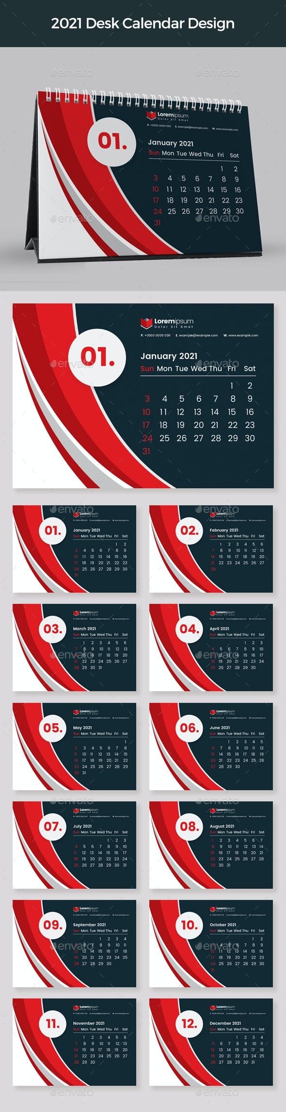 Red Desk Calendar 2021 - Calendars Stationery